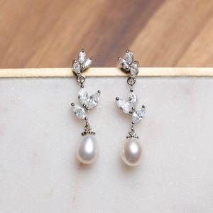 Dangling Cubic Zirconia & Faux Pearl Earrings